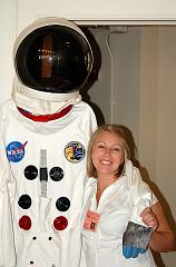Megan, from the Music Institute of Chicago, posing with a spacesuit at the Blast Off concert - Sept. 2007.